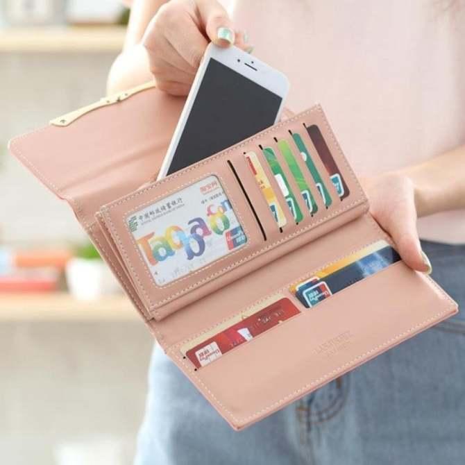 Womens Folded Leather Long Wallet Cute Hasp Handbag Largecapability Multifunction Phone Bag Street Fashion Purse(Purple) - intl
