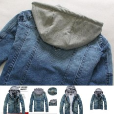 Wonderful Power Newest Hot Products Fashion Men Denim Jacket Hoodies Cowboy Coat Hooded Outdoors Mens Casual Jeans Jackets -Blue-Int:XXL - intl