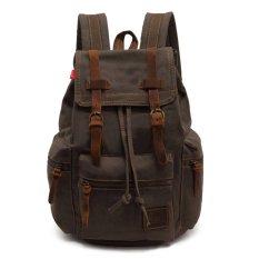 Mã Khuyến Mại Ybc Men Vintage Canvas Backpack Rucksack Hiking Bag Sch**l Bag Army Green Intl Trong Trung Quốc