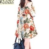 Bán Zanzea 2017 Hợp Thời Trang Mua Thu Đầm Lanh Suong Nữ Vintage Hoa Cổ V Dai Thun Dễ Thương Mini Ao Nơ Xinh Quốc Tế Mới