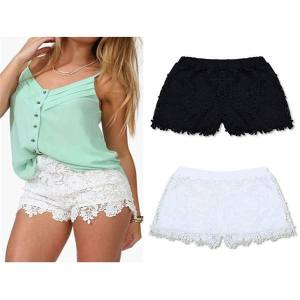Hình ảnh ZANZEA Korean Style Women Summer Lace Shorts Casual Sweet Cute Plus Size Elastic Waist Short (White)