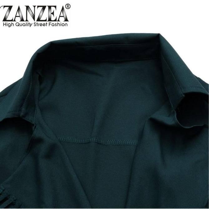 Hình ảnh ZANZEA PLUS SIZE Nữ Ve Áo Ôm Dài Voan Khoác Cardigan Áo Khoác Áo Choàng Đi Mưa Đội Quân Mới Xanh Kích Thước S-5XL-quốc tế