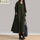 Ôn Tập Zanzea Women Maxi Dress 2017 Autumn Vintage Casual Loose Long Dresses Ladies V Neck Long Sleeve Hooded Cotton Green Intl Zanzea Trong Bình Dương