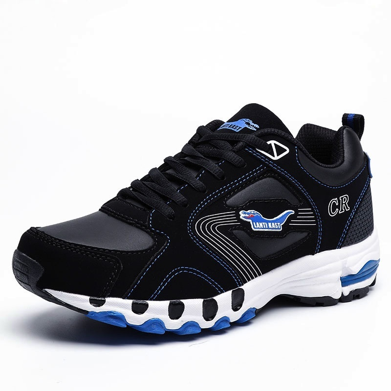 ZOQI Men Outdoor Sport Shoes High Quality Sports Sneakers Big Size(black&blue)