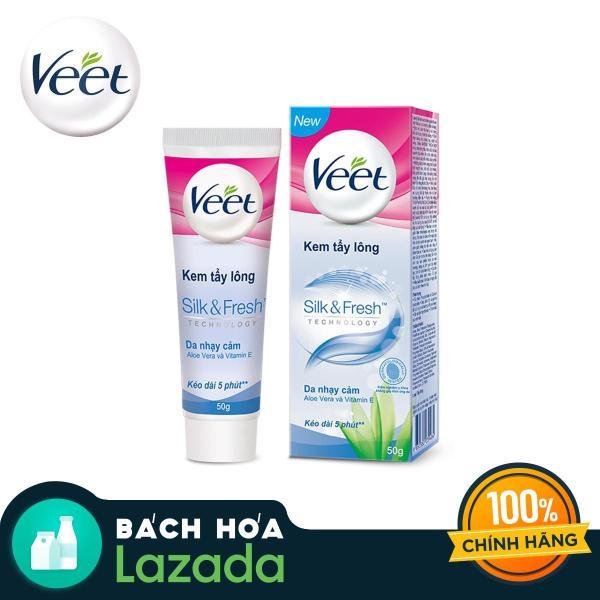 Kem tẩy lông cho da nhạy cảm Veet Silk Fresh 50g cao cấp