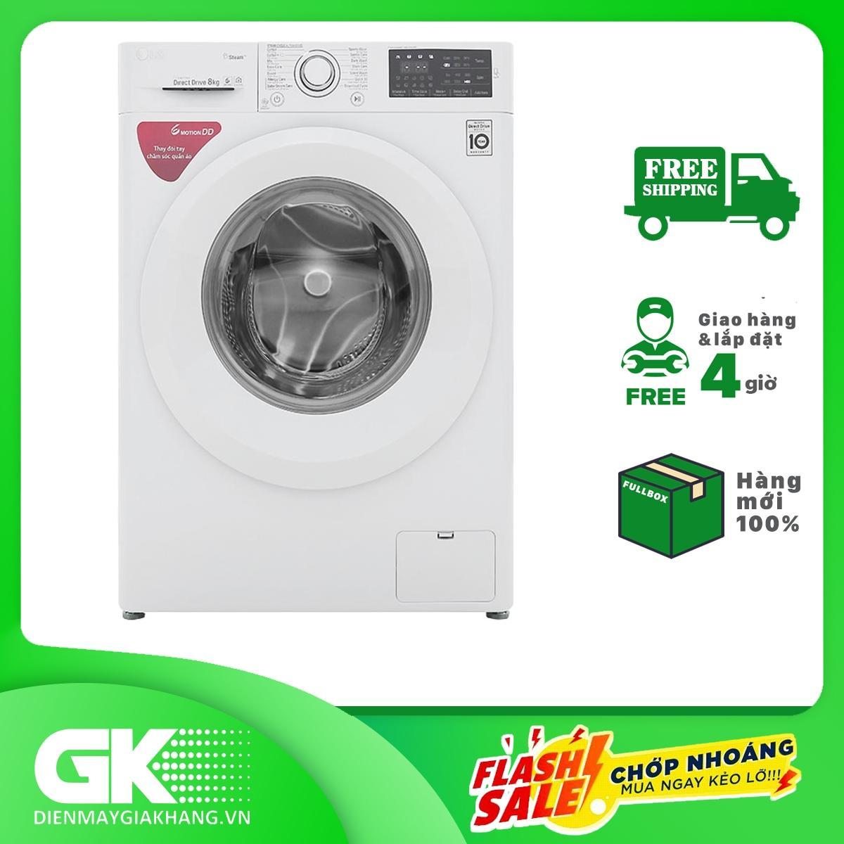 Máy giặt LG Inverter 8 kg FC1408S5W, Tốc độ quay vắt 1400 vòng/phút, 13 chương trình giặt, Công nghệ hơi nước Spa steam diệt tới 99,9% tác nhân dị ứng, Bảo hành 2 năm