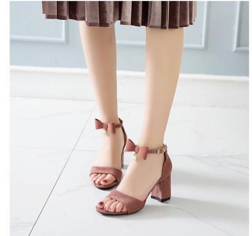 Giày cao gót vuông cổ nơ 1 hạt HP05 giá rẻ