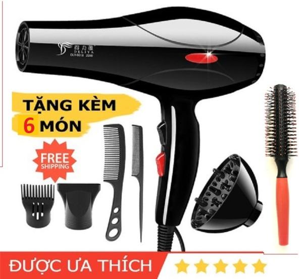 Máy sấy tóc Deliya Máy sấy tóc 2 chiều, chế độ điện 2000W Máy sấy tóc đơn giản chuyên nghiệp Máy sấy tóc công suất cao Máy sấy tóc du lịch tại nhà Máy sấy tóc không khí nóng và lạnh, (miễn phí 5-6 phụ kiện)