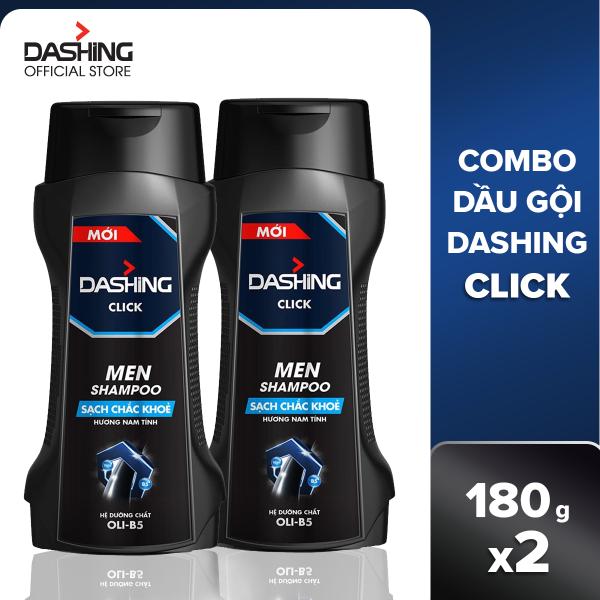 Combo 2 dầu gội Dashing Click sạch chắc khỏe dành cho nam giới 180g/chai, thành phần an toàn, không gây kích ứng da đầu, phù hợp với mọi loại da đầu giá rẻ