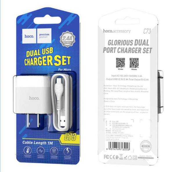 Bộ Dây Và Cóc Sạc Nhanh C73 2.4A 2 USB Cổng Micro