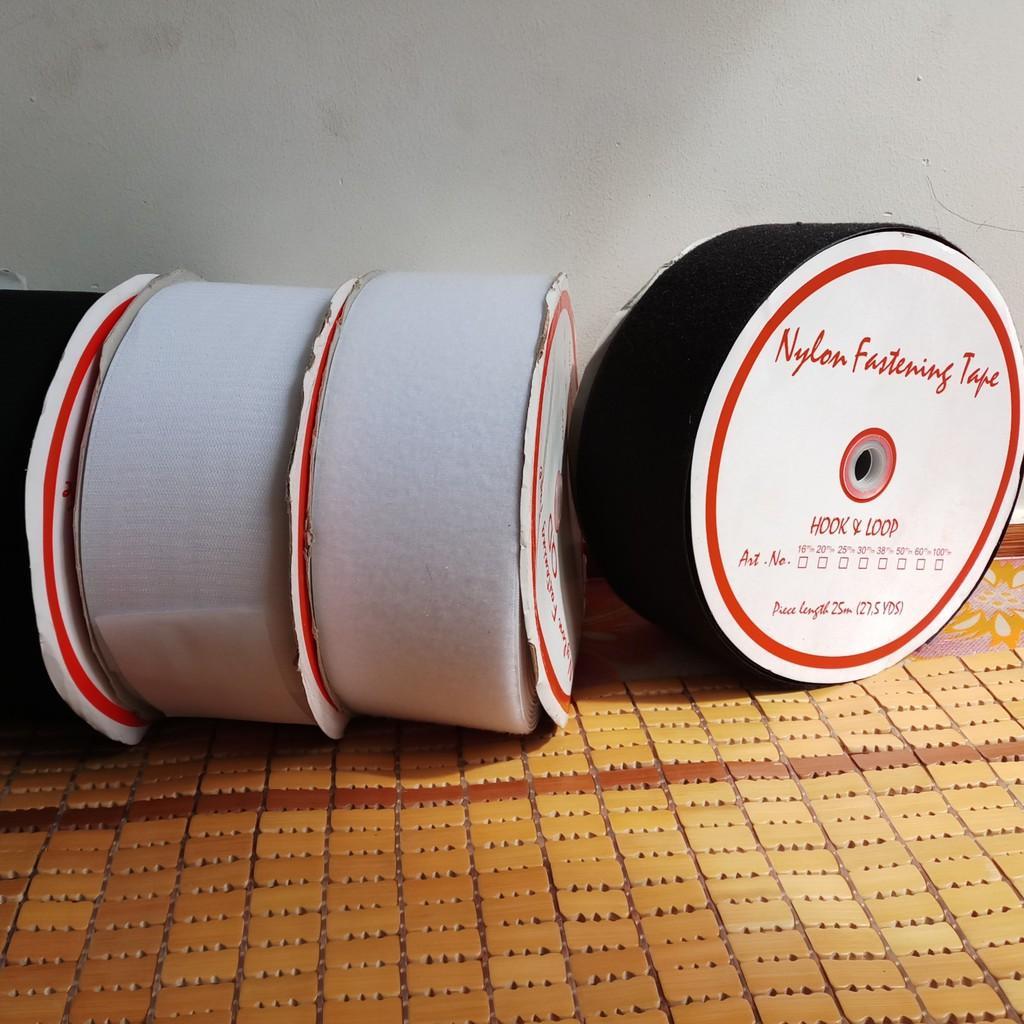 Dán sé, Băng dính gai, khóa nhám, hiệu HOOK & LOOP (10cm x 1 mét trắng, đen)