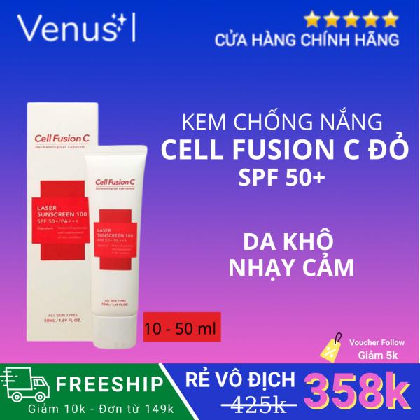 Kem chống nắng Cell Fushion C Laser Sunscreen 100 SPF 50+ Đỏ 10-50 ml Bảo vệ Da Dưới Tác Động Của Tia UV, Giúp Làn Da Săn Chắc