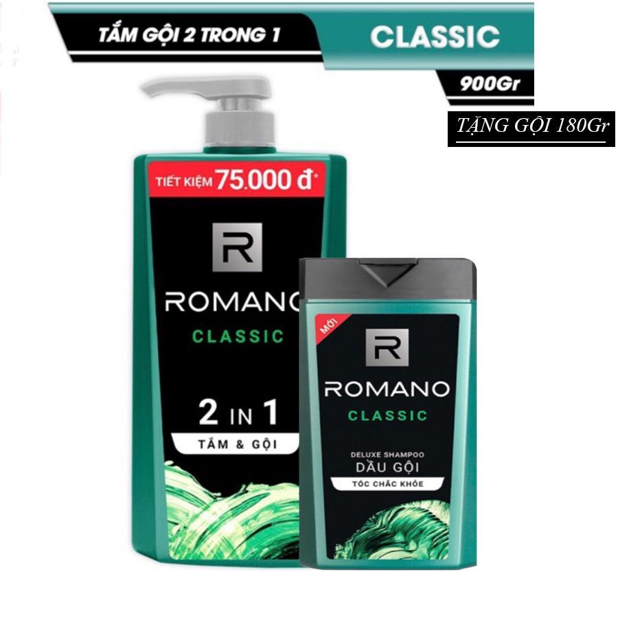 Tắm gội Romano Classic 2 trong 1 chai 900gr Tặng kèm dầu gội Classic 180g tốt nhất