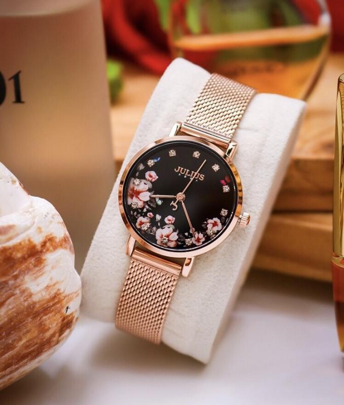Đồng hồ nữ Julius Hàn Quốc JA-1164LG mặt in hoa dây thép sang trọng
