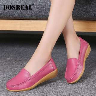 DOSREAL Women Genuine Leather Shoes Women Slip On Loafers Flats Shoes Women Black White Flats Ballet Casual Flat Shoes
