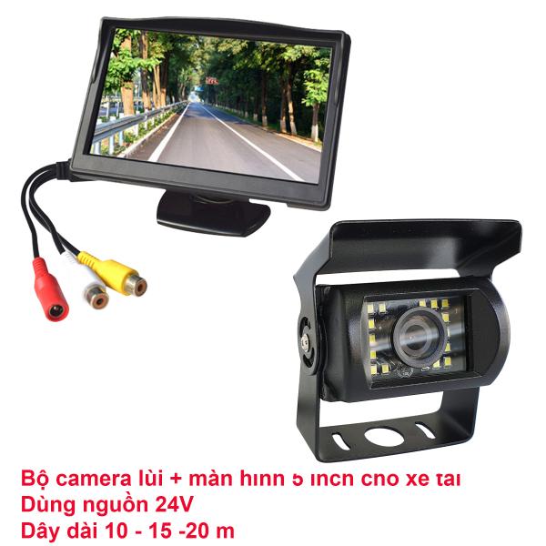 Camera hành trình xe tải, màn hình đặt taplo 5 inch, loại 24 đèn led, nguồn 12-24V, dây tín hiệu dài 10m.