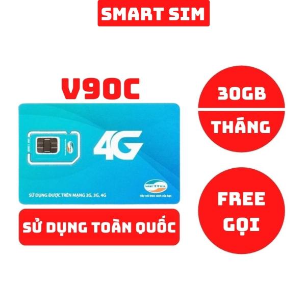 Sim 4G Viettel V90C tặng 30GB/Tháng, miễn phí 1000 phút gọi nội mạng và 20 phút ngoại mạng chỉ 90k/tháng - Smart Sim HC