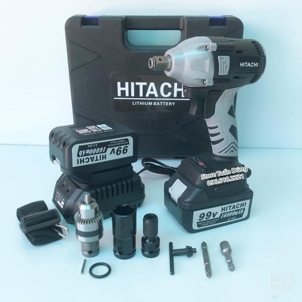 Máy siết mở ốc bulong Hitachi 99V KHÔNG CHỔI THAN TẶNG BỘ PHỤ KIỆN Chức năng: Siết mở bulong, khoan, bắt vít, bắn tôn... Đầu bulong 2 TRONG 1 (Vừa có thể gắn đầu mở bulong, vừa có thể gắn đầu bắt vít)