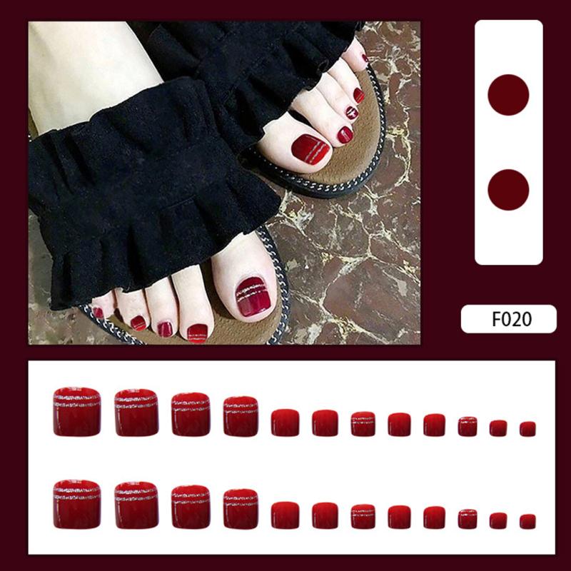 Móng chân giả hộp 24  móng đủ kích thước style Hàn Quốc mẫu mới nhất siêu HOT  [Tặng keo+dũa] giá rẻ