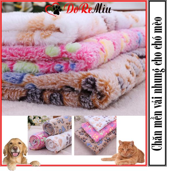 Doremiu- Chăn mền chó mèo bằng vải nhung ấm áp (3 màu) in hình dấu chân