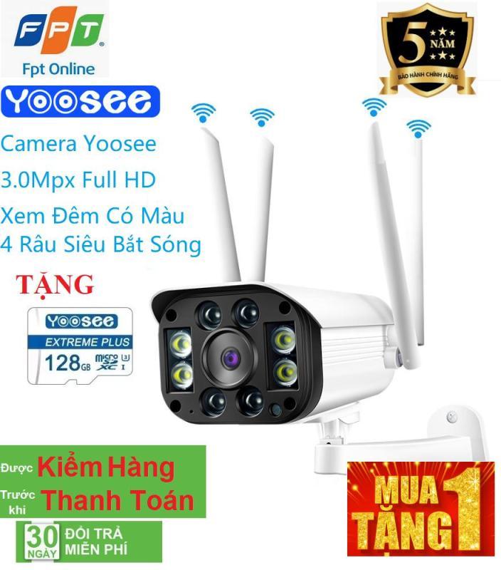 [ TẶNG THẺ NHỚ 128 YOOSEE LOẠI XỊN BẢO HÀNH 5 NĂM 1 ĐỔI 1 TRONG 1 NĂM ] camera wifi 3.0 ngoài trời - trong nhà camera yoosee 4 Râu 3.0 Mpx full hd 1080p - hỗ trợ 4 đèn hồng ngoại và 4 đèn LED