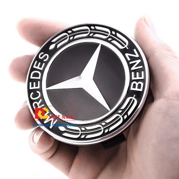 1 chiếc logo chụp mâm bánh xe ô tô, xe hơi nhãn hiệu Merce.des đường kính 75MM ( Màu đen)
