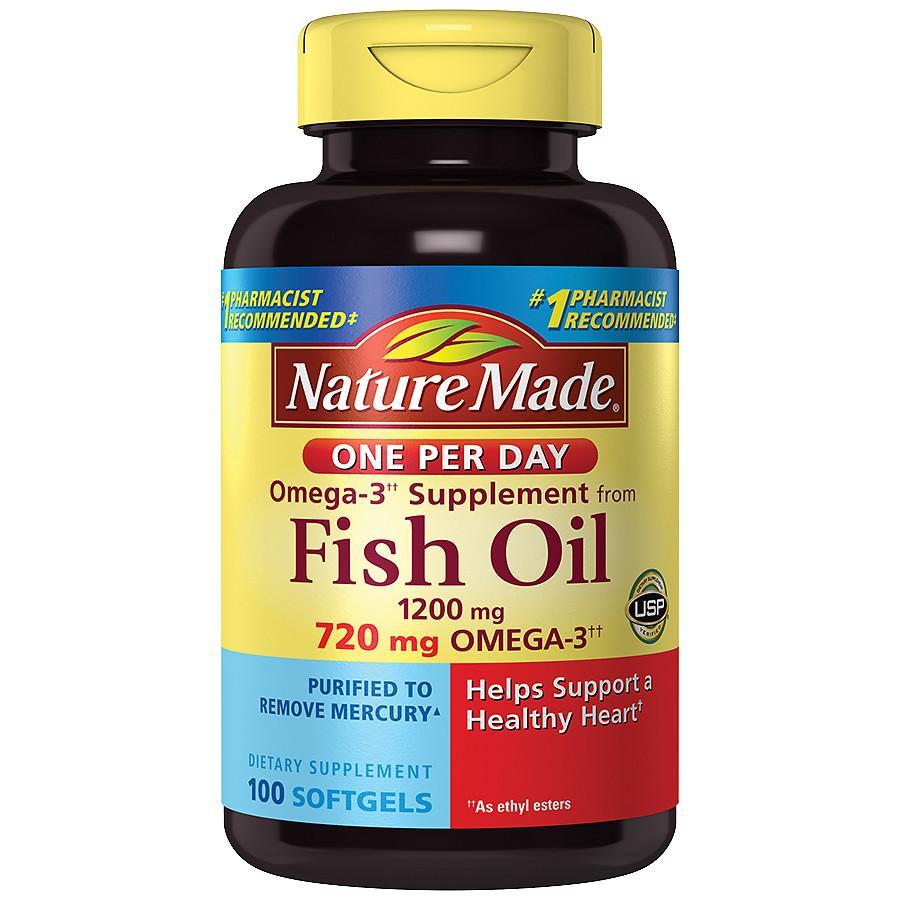 Dầu Cá Nature Made Fish Oil 1200mg Omega 3 Hộp 200 Viên Của Mỹ chính hãng