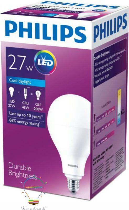 Combo 6 bóng đèn Led Bulb Philips 27W E27 ánh sáng trắng 6500K 230V A110 APR hiệu suất cao quang thông 3000Lm
