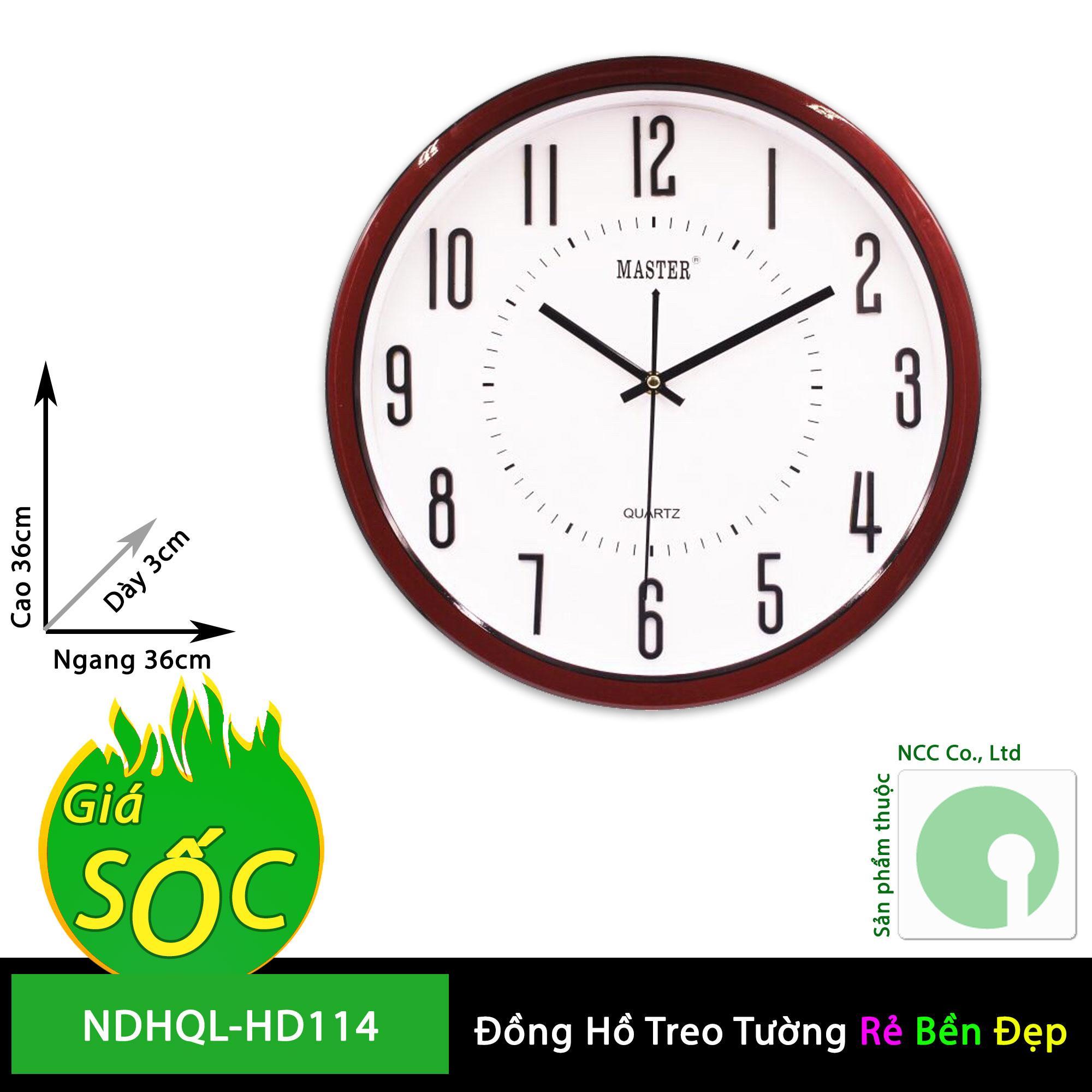 Đồng hồ treo tường - mặt tròn nền trắng - NDHQL-HD114 (Khung Nền Trắng) bán chạy