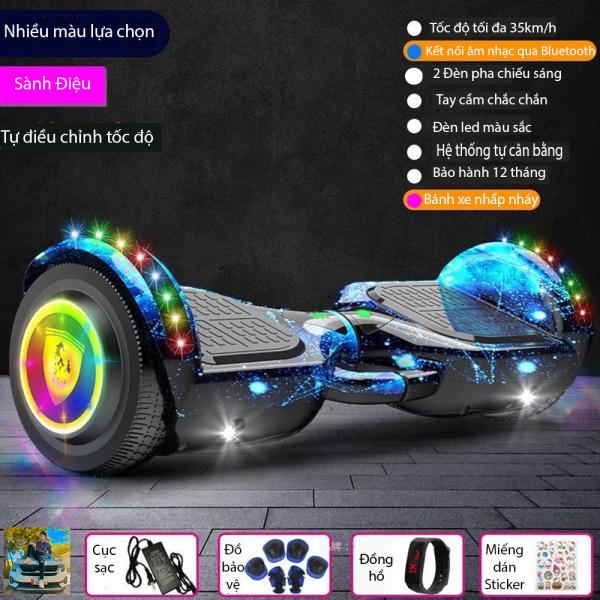 Mua Xe Điện tự Cân Bằng 2 bánh lớn 6.5 inch Đèn LED, Đèn Pha Kết nổi Bluetooth tặng Điều khiển + Miếng bảo vệ + Đồng hồ LED