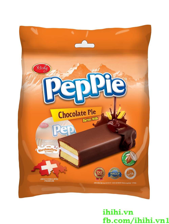 Bánh phủ socola Peppie 216g (Bịch 12 bánh)