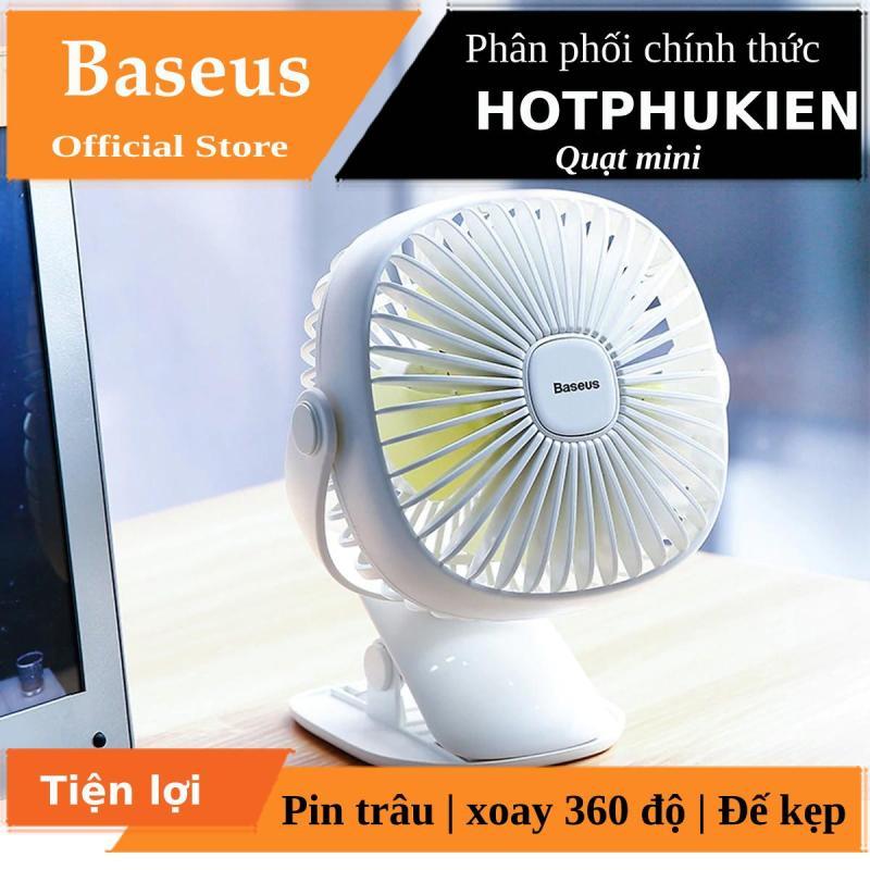 Quạt mini Baseus để bàn xoay 360 độ kiêm kẹp kiêm đen ngủ siêu tiện lợi (Bào hành 3 tháng 1 đổi 1) - Phân phối bởi Hotphukien