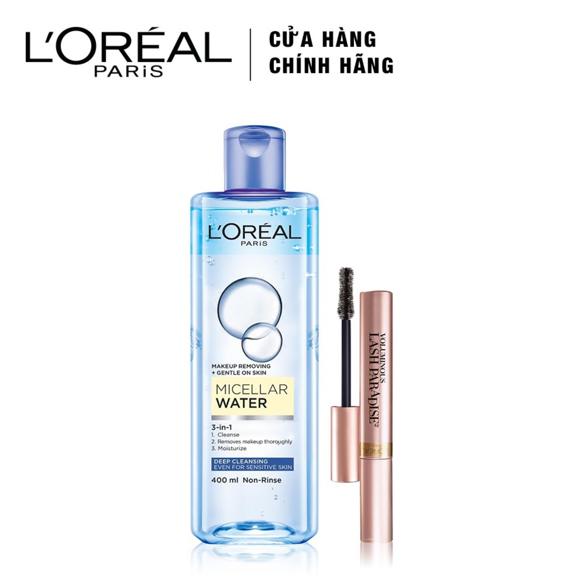 Bộ 2 sản phẩm mascara dày và dài mi LOreal Paris Lash paradise + Nước tẩy trang LOreal Paris Micellar Water Biphase làm sạch sâu tốt nhất