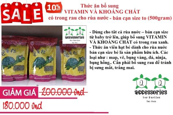 Thức ăn bổ sung VITAMIN VÀ KHOÁNG CHẤT có trong rau cho rùa nước - bán cạn size to 500 gram