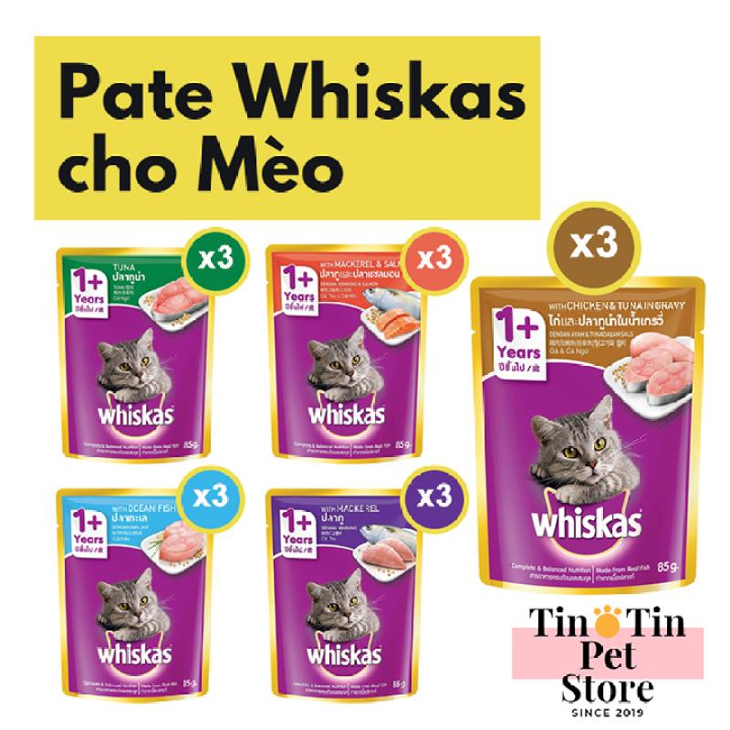 Combo 15 Gói Pate Whiskas 85g -  5 Mùi Vị Cho Mèo