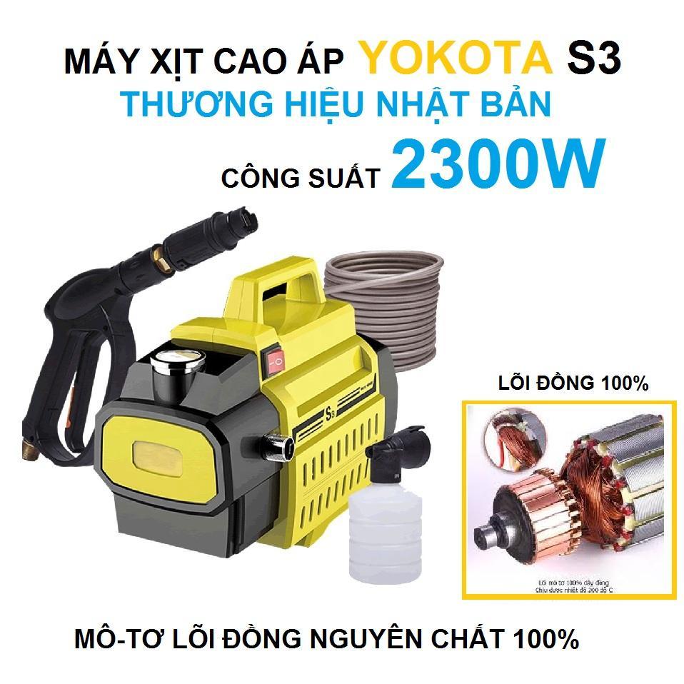 Máy Rửa Xe Áp Lực Cao YOKOTA S3, THƯƠNG HIỆU NHẬT BẢN 2300W, Lõi đồng nguyên chất 100%, tự hút nước Nhật Bản
