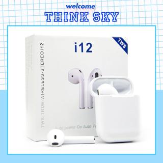 Tai nghe Bluetooth không dây nhét tai i12 cho điện thoại Sony, Samsung, iphone, Apple, Oppo, ViVo, VSmart- kiểu dáng thể thao cho gaming, gọn như airpods với phiên bản bluetooth 5.0, nâng cấp hơn i7, i9, i11 TWS - Mã giảm giá I12TWS - Thinksky thumbnail