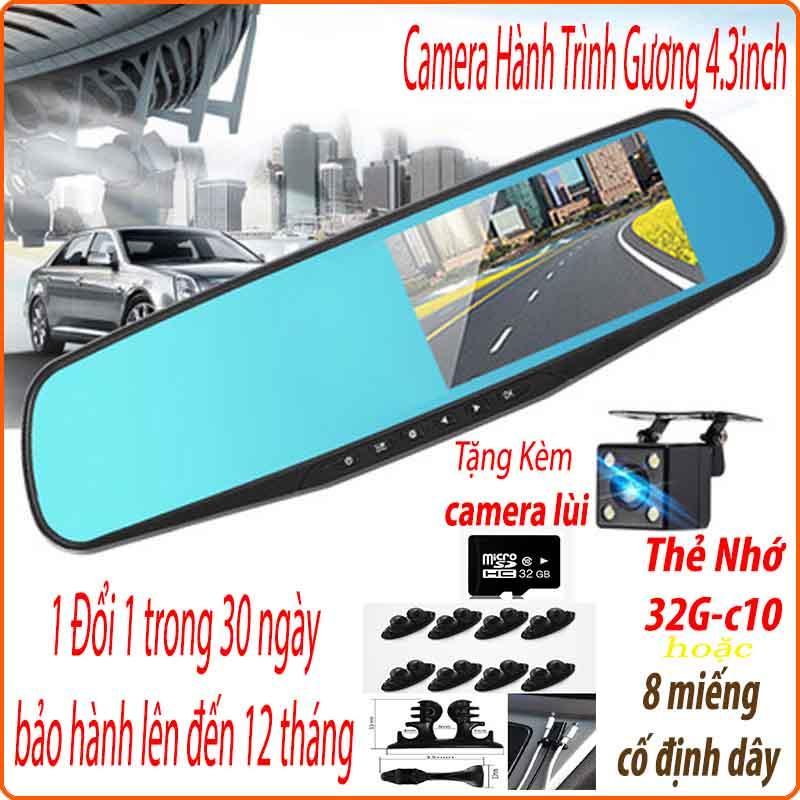 [TẶNG THẺ 32G-C10-U3 CHUYÊN DỤNG CHO CAMERA HÀNH TRÌNH] Camera Hành Trình ô Tô, Camera Hành Trình Gương Chiếu Hậu (4.3inch), Tặng Camera Lùi Vehicle Blackbox FullHD 1080, Có Tiếng Việt Siêu Ưu Đãi tại Lazada