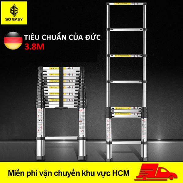 Thang nhôm rút 3.8m – thang nhôm rút đơn cao cấp – chất liệu hợp kim nhôm – 13 bậc – tải trọng 150kg – dễ dàng sử dụng – đạt tiêu chuẩn của Đức - bảo hành 1 năm SY-024