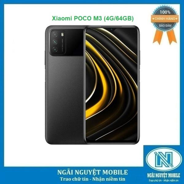 Điện thoại Xiaomi POCO M3 RAM: 4 GB Rom: 64GB CPU: Snapdragon 662 8 nhân, Màn hình: IPS LCD, 6.53, Full HD+ Hệ điều hành: Android 10 Camera sau: Chính 48 MP & Phụ 2 MP, 2 MP Camera trước: 8 MP – Bảo hành 18 tháng