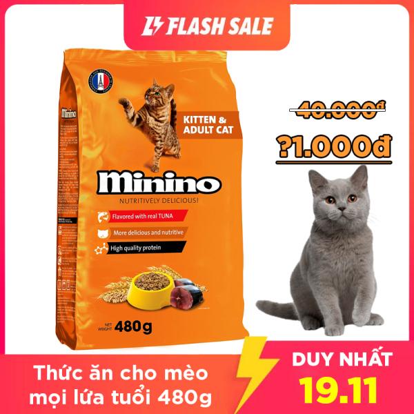 Thức ăn cho mèo MININO 480g Vị cá Ngừ Dành cho mèo mọi lứa tuổi