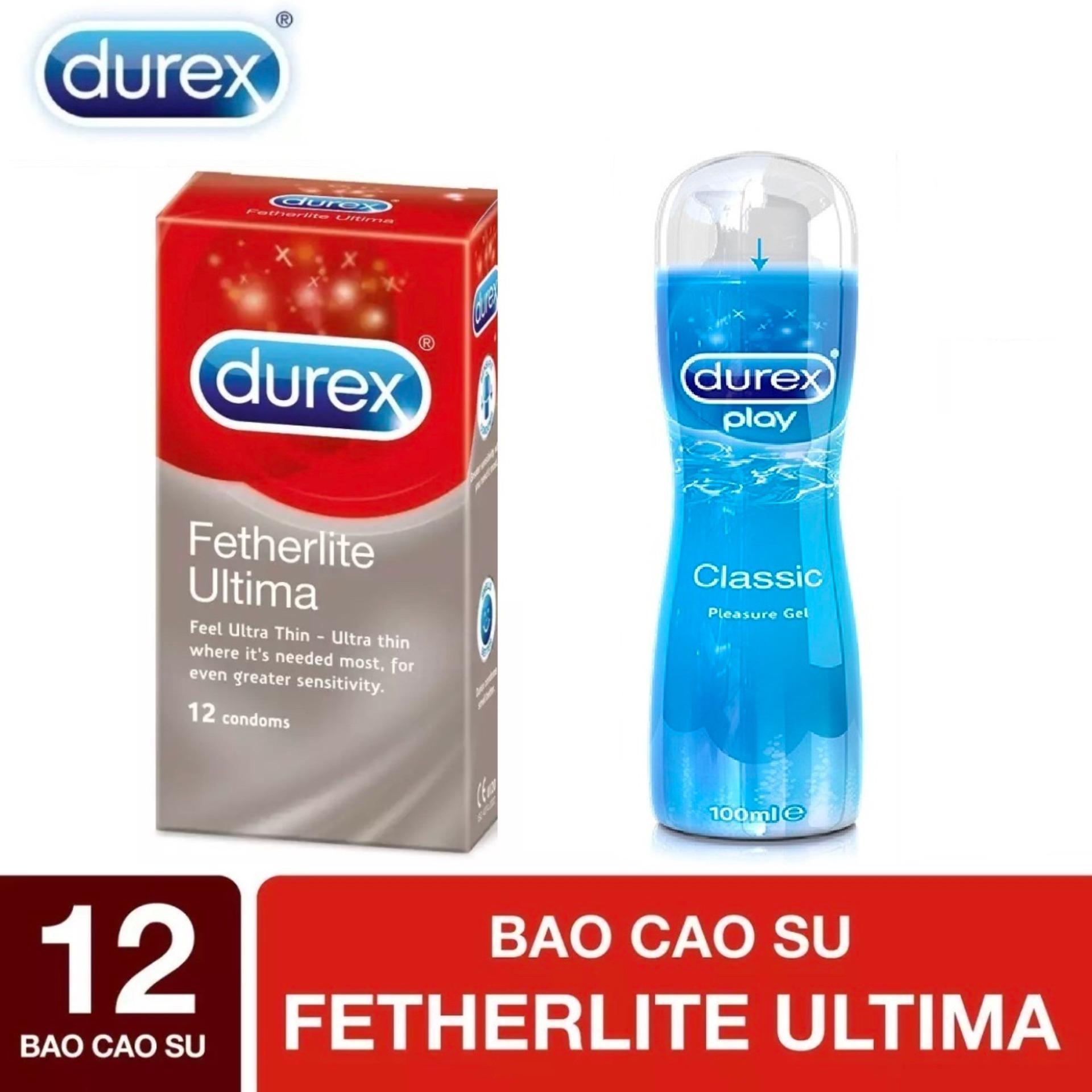 BCS Durex Fetherlite Ultima siêu mỏng 12s - tặng Gel bôi trơn Durex Play hoặc KY 50G [che tên sản phẩm]