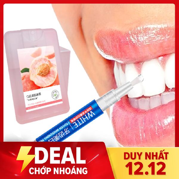 Combo 1 Xịt thơm miệng + 1 bút gel làm trắng răng loại bỏ mùi hôi miệng giúp hơi thở thơm mát