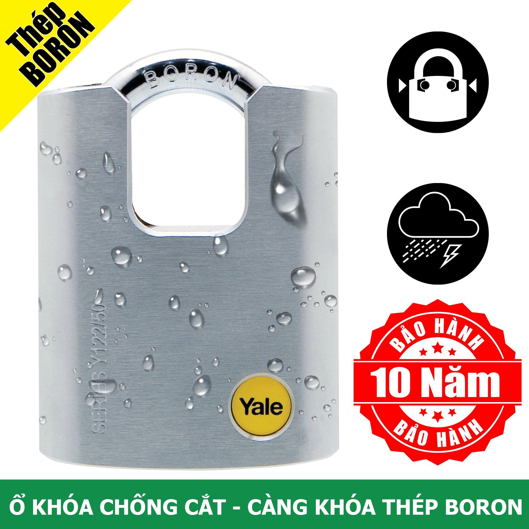 Ổ khóa chống cắt với càng khóa bằng thép Boron rất cứng Yale Y122/50/123/1 màu Satin mạ Chrome dẻo
