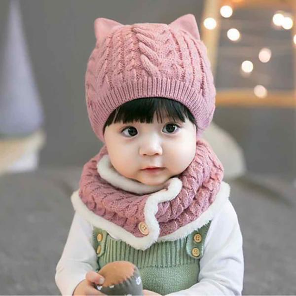 Mũ len cúc bấm thời trang cho bé