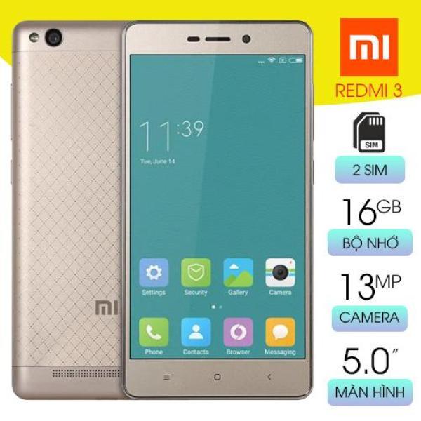 [Nhập ELMAR31 giảm 10% tối đa 200k đơn từ 99k]Điện thoại giá rẻ Xiaomi Redmi 3 - 2 Sim - Pin 4100 mAH - RAM 2GB/ROM 16GB - Màn hình cảm ứng IPS LCD 5inch -  2 Camera 5MP/13MP - Hệ điều hành Adroid 5.1 - Hỗ trợ 3G 4G LTE Wifi - Bảo hàn