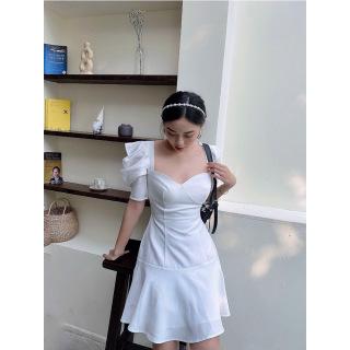 RECHIC Đầm Kaity màu trắng cúp ngực tay phồng ngắn dáng A ngắn năng động trẻ trung dạo phố thumbnail