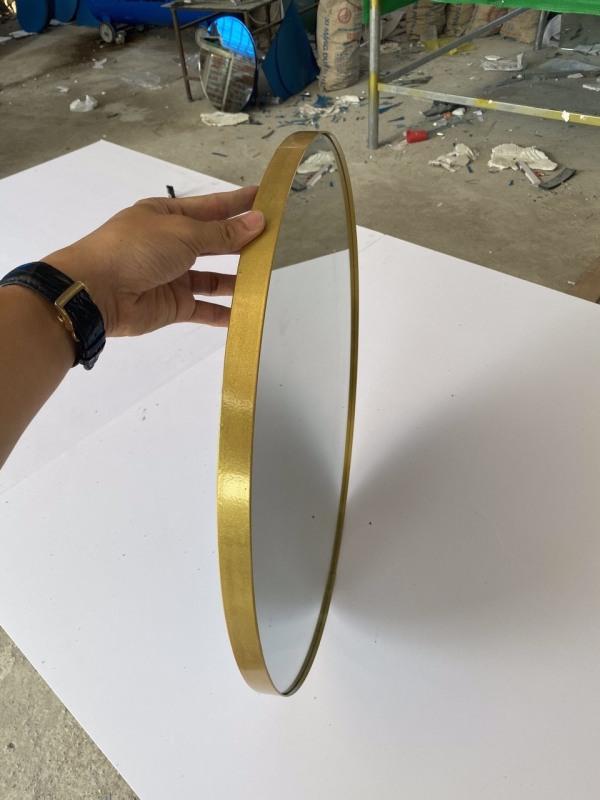 Gương Tròn Viền Thép Tĩnh Điện Phôi Kính Việt Nhật. Sản Xuất Bởi Xưởng Gương Diamond Concept.