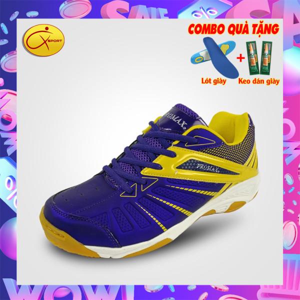 [Q-Sport] Giày cầu lông nam Promax 19001 màu Tím vàng Xpd, động lực, đế kếp, chống trơn, chống trượt, ôm chân, bền bỉ- Giày cầu lông nam nữ- Giày bóng chuyền nam nữ- giày thể thao nam nữ