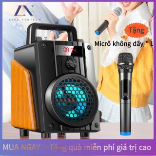 Loa Bluetooth Karaoke Không Dây (Micro Không Dây 1) Hát Công Suất Lớn 20W + Điều Khiển Từ Xa Đầu Đọc Thẻ Loa Gỗ Với Pin Dung Lượng Lớn 3600MAH thumbnail